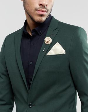 Gianni Feraud Платок для нагрудного кармана и булавка на лацкан кремового цвета Gian. Цвет: кремовый