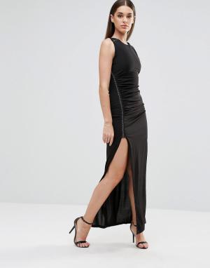 Sistaglam Платье макси с разрезом спереди и металлической отделкой. Цвет: черный