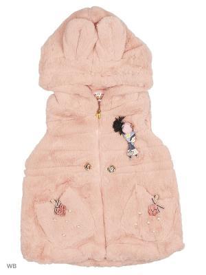 Жилет меховой с капюшоном Happy Bear. Цвет: розовый