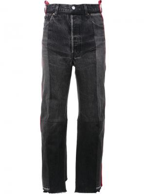 Contrast stripe straight-leg jeans Vetements. Цвет: чёрный