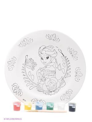Набор для росписи керамической тарелки  Холодное сердце: Эльза Фабрика Фантазий. Цвет: белый