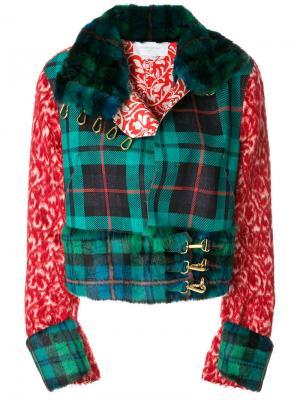 Байкерская куртка с контрастными панелями Esteban Cortazar. Цвет: зелёный