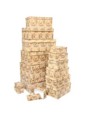 Набор из 15 крафт коробок 12*6,5*4-46,6*33*18см, Гимн весне VELD-CO. Цвет: терракотовый, светло-коричневый
