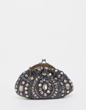 Moyna Бархатный клатч с отделкой камнями и бисером. Цвет: серый