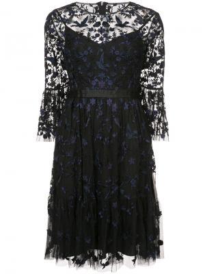 Прозрачное расклешенное платье с цветочным узором Needle & Thread. Цвет: чёрный