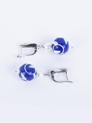 Серьги Jana Duff М6186 цвет синий, серебряный, белый. Цвет: синий