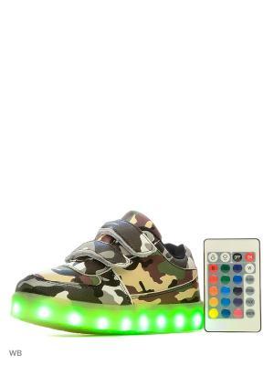 Кроссовки Kids Military R LedShoes. Цвет: черный, зеленый