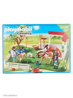 Супер набор: Загон для Лошадей Playmobil. Цвет: зеленый, серый, красный