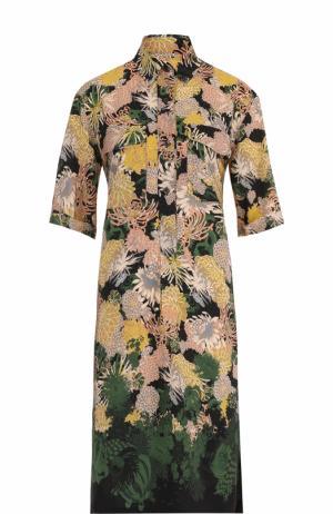 Шелковое платье-рубашка с принтом Dries Van Noten. Цвет: зеленый