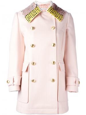 Пальто с воротником в пайтеках Altuzarra. Цвет: розовый и фиолетовый