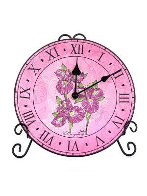 Часы с подставкой Ирисы Elan Gallery. Цвет: сиреневый