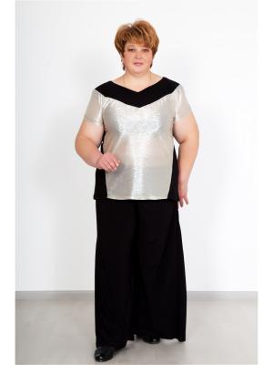 Костюм (футболка,штаны) Lika Dress. Цвет: черный, серебристый