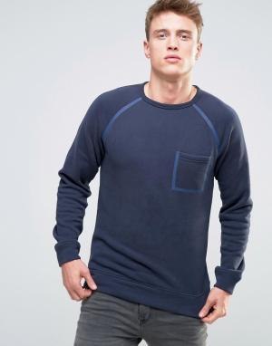 Esprit Свитшот с окантованными рукавами реглан и карманом. Цвет: темно-синий