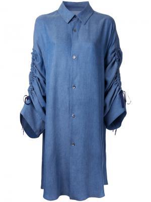 Джинсовая рубашка с рукавами на завязках G.V.G.V.. Цвет: синий