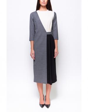 Платье с контрастными элементами Poustovit. Цвет: серый, белый, черный