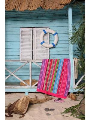 Полотенце пляжное Страйп 90*170 цв. мультиколор TOALLA. Цвет: фиолетовый