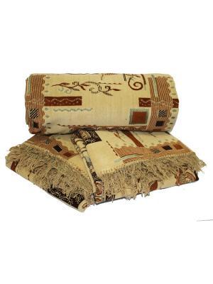 Комплект на мягкую мебель: покрывало 160Х210, накидка кресло 160Х90 - 2шт Dorothy's Нome. Цвет: светло-коричневый, бежевый