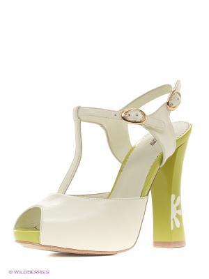 Босоножки Lisette. Цвет: зеленый, белый