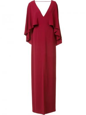 Вечернее платье с V-образным вырезом Halston Heritage. Цвет: красный