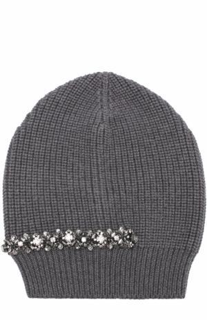 Вязаная шапка из шерсти с декором No. 21. Цвет: серый