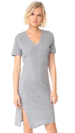 Объемное платье-футболка с узлом MONROW. Цвет: гранит