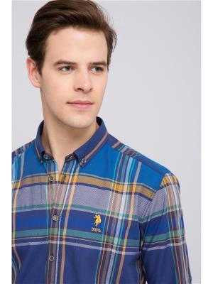 Рубашка U.S. Polo Assn.. Цвет: синий, желтый, серый