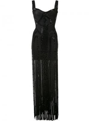 Декорированное полупрозрачное платье Hervé Léger. Цвет: чёрный