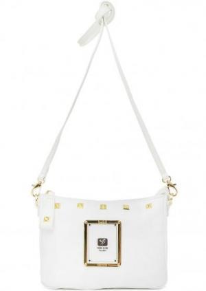 Маленькая сумка с металлическим декором Piero Guidi. Цвет: белый