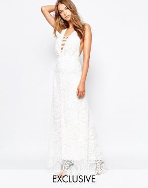 White Sand Кружевное платье макси Fiji. Цвет: белый