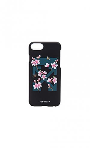 Чехол для iphone 7 с принтом вишневый цвет OFF-WHITE. Цвет: черный