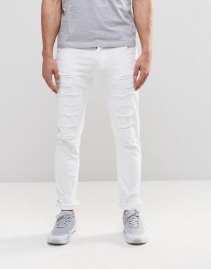 Loyalty & Faith Белые джинсы скинни с заплатками и напылением. Цвет: белый