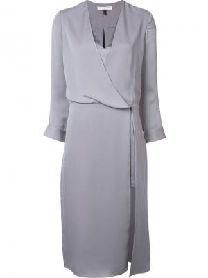 Платье с запахом Halston Heritage. Цвет: серый