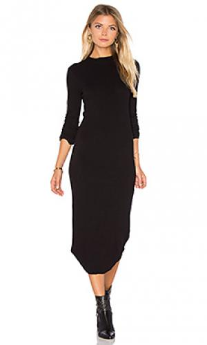 Платье с длинным рукавом и овальным вырезом MONROW. Цвет: черный