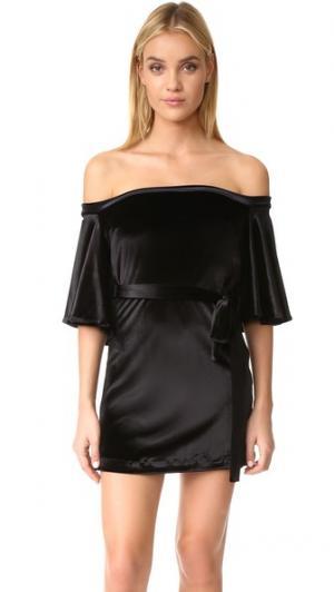 Свободное платье с открытыми плечами MLM LABEL. Цвет: голубой