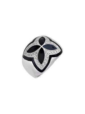 Кольцо с фианитом и эмалью Магия Золота. Цвет: серебристый