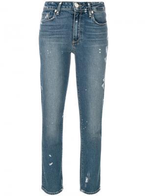Прямые укороченные джинсы Paige. Цвет: синий