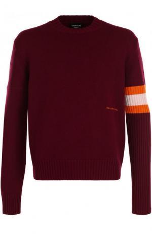 Кашемировый свитер с контрастной вставкой CALVIN KLEIN 205W39NYC. Цвет: бордовый