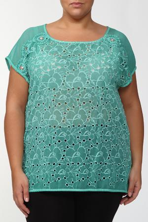 Блузка LA VELINA. Цвет: бирюзовый