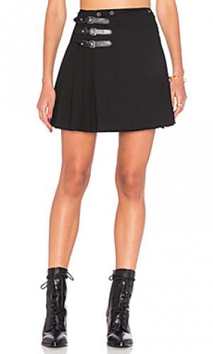 Плиссированная юбка с пряжкой McQ Alexander McQueen. Цвет: черный