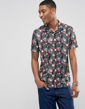 LDN DNM Рубашка с короткими рукавами, отложным воротником и принтом. Цвет: белый
