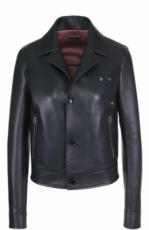 Кожаная куртка на пуговицах с отложным воротником Bally. Цвет: темно-зеленый
