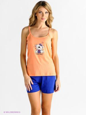 Домашний костюм Vienetta Secret. Цвет: оранжевый, синий
