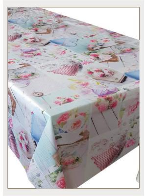 Скатерть с фотопринтом Романтичные розы Ambesonne. Цвет: синий, зеленый, серый, голубой, бежевый, розовый, желтый, белый
