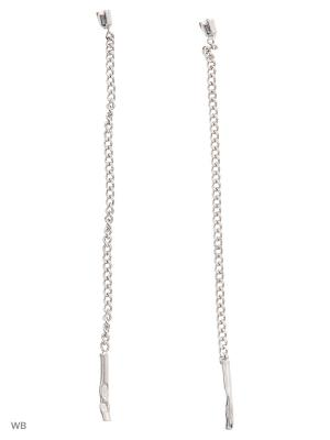 Серьги-цепочки длинные (продевки) ACCENT jewelry. Цвет: серебристый