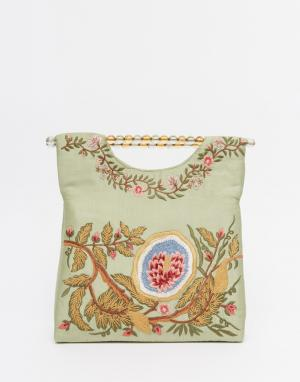 Moyna Шелковая сумка с вышивкой. Цвет: зеленый