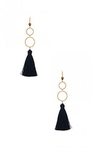 Серьги-кольца с кисточками Melanie Auld. Цвет: металлический золотой