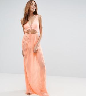 ASOS Tall Плиссированное пляжное платье макси с ремешками. Цвет: оранжевый