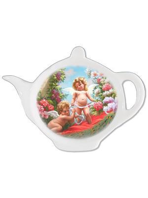 Блюдце для чайных пакетиков Gift'n'Home. Цвет: голубой, бежевый, красный, белый, зеленый