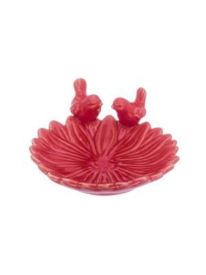 Блюдо Птички на цветке Elan Gallery. Цвет: красный