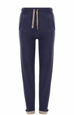 Кашемировые брюки прямого кроя с эластичным поясом и отворотами Allude. Цвет: синий